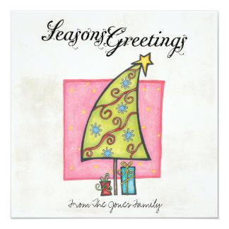 """Tarjetas de felicitación planas del navidad invitación 5.25"""" x 5.25"""""""