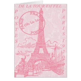 Tarjetas de felicitación rosadas de Eiffel
