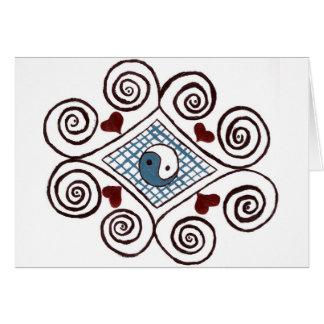 Tarjetas de felicitación ying diseño del remolino