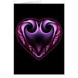 Tarjetas de felicitaciones del fractal del corazón