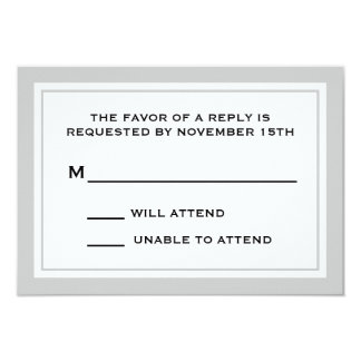 Tarjetas de general RSVP (plata/blanco) Invitación