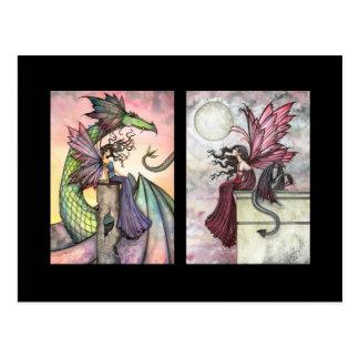 Tarjetas de hadas del dragón ACEO por Molly Harris Postales