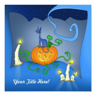 """Tarjetas de Halloween - gato en una calabaza Invitación 5.25"""" X 5.25"""""""