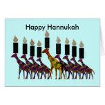 Tarjetas de Hannukah Menorah de la jirafa