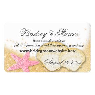Tarjetas de información del boda de playa de la tarjetas de visita