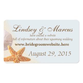 Tarjetas de información del boda de playa de Shell Tarjetas De Visita