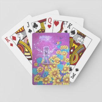 Tarjetas de juego de hadas rosadas del cuento de cartas de póquer