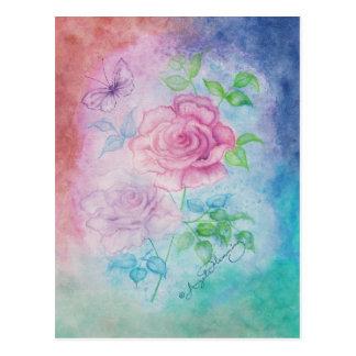 Tarjetas de la Atlántida del arte de los rosas Tarjeta Postal