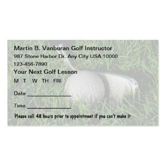 Tarjetas de la cita del instructor del golf tarjeta personal