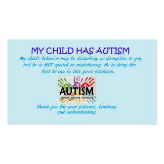 Tarjetas de la conciencia del autismo tarjetas de visita