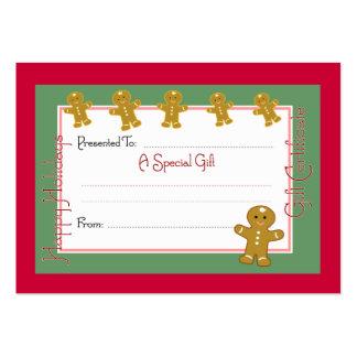 Tarjetas de la cupón del navidad tarjetas de visita grandes