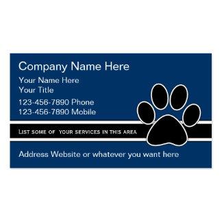 Tarjetas de la empresa de servicios del mascota tarjetas de visita