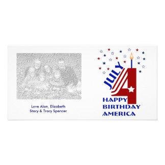 Tarjetas de la foto de América del feliz cumpleaño Tarjeta Personal