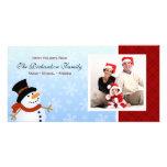 Tarjetas de la foto de familia del muñeco de nieve tarjeta fotográfica personalizada