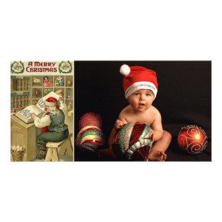 tarjetas de la foto de la lista de santa del vinta tarjeta fotográfica personalizada