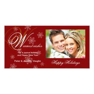 Tarjetas de la foto del copo de nieve del día de tarjeta personal