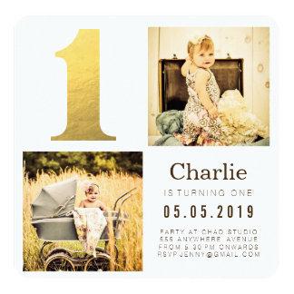 Tarjetas de la foto del cumpleaños de la hoja de invitación 13,3 cm x 13,3cm