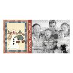 Tarjetas de la foto del día de fiesta - muñeco de  plantilla para tarjeta de foto