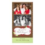 Tarjetas de la foto del navidad - Brown, pájaro ro Tarjeta Personal