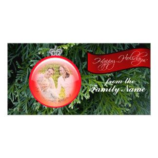 Tarjetas de la foto del navidad de la foto del orn tarjeta fotográfica personalizada