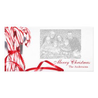 Tarjetas de la foto del navidad de los bastones de tarjeta personal