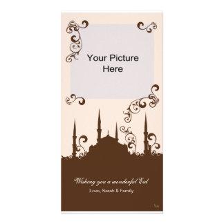 Tarjetas de la foto del remolino del rosa de Eid B Tarjeta Fotografica Personalizada