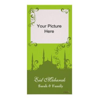 Tarjetas de la foto del remolino del verde de Eid Tarjeta Fotográfica