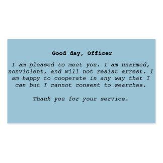 Tarjetas de la interacción de la policía tarjetas de visita
