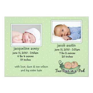 Tarjetas de la invitación del bebé de los gemelos