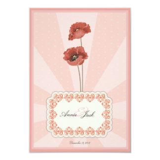 Tarjetas de la invitación del boda de la flor del