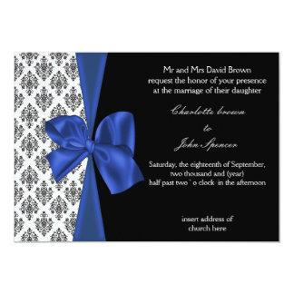 tarjetas de la invitación del boda del damasco de
