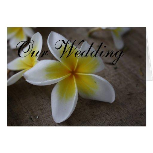 Tarjetas de la invitación del boda del Frangipani