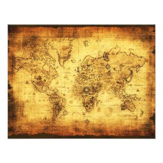 Tarjetas de la invitación del mapa de Viejo Mundo