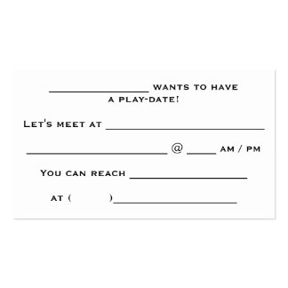 tarjetas de la Juego-fecha Tarjetas De Visita