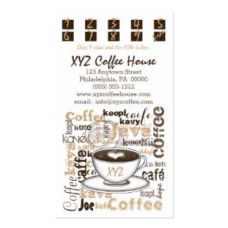 Tarjetas de la lealtad del sacador el | del café tarjetas de visita