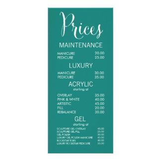 Tarjetas de la lista de precios del menú del salón lona publicitaria