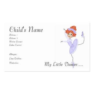 Tarjetas de la mamá/del papá de la bailarina tarjetas de visita