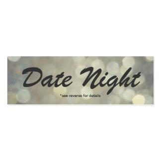 Tarjetas de la noche de la fecha tarjetas de visita mini