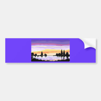 Tarjetas de la puesta del sol del lago pegatina para auto