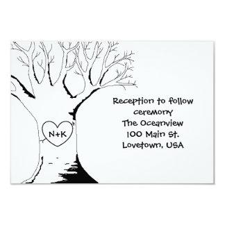 """""""Tarjetas de la recepción del árbol del amor"""" Invitación 3.5"""" X 5"""""""