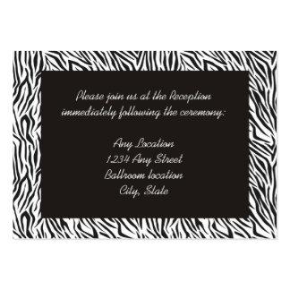 Tarjetas de la recepción del estampado de zebra tarjetas de visita grandes