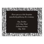 Tarjetas de la recepción del estampado de zebra plantilla de tarjeta personal