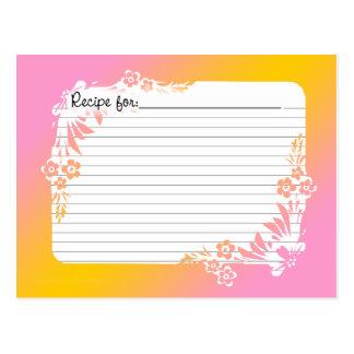 Tarjetas de la receta con equivalentes en pastel tarjetas postales