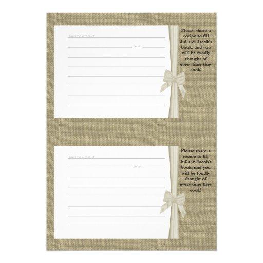 Tarjetas de la receta de la arpillera y del arco invitación