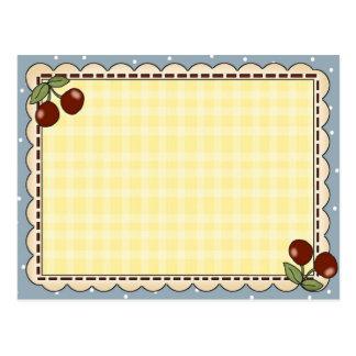 Tarjetas de la receta de la cereza postales
