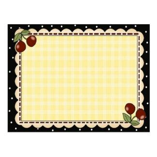 Tarjetas de la receta de la cereza postal