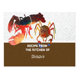 Tarjetas de la receta de la cocina postal