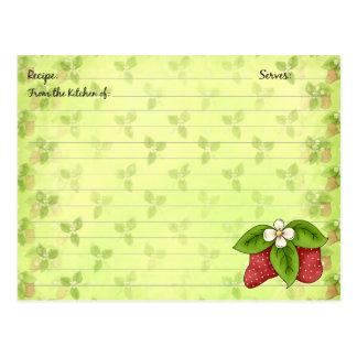 Tarjetas de la receta de la fresa postal