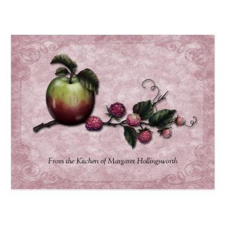 Tarjetas de la receta de las manzanas y de las fra tarjetas postales