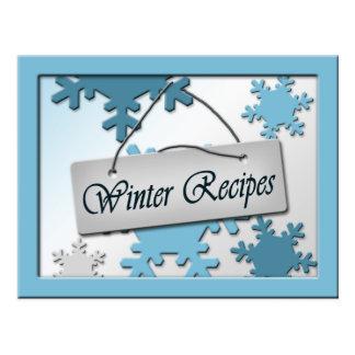Tarjetas de la receta de los copos de nieve del postal